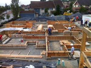 Setting up the formwork for the big pour...